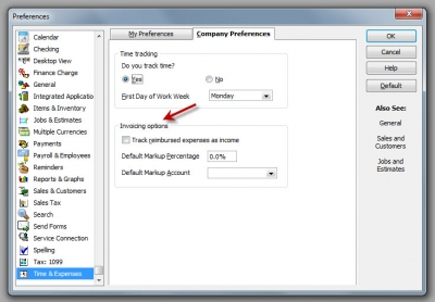 QuickBooks Pro 2012 Time & Expenses Preferences