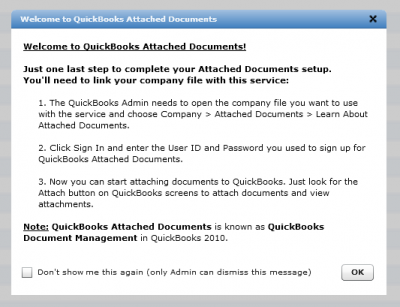 QuickBooks Attached Documents Link Notice