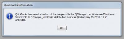 QuickBooks Enterprise Solutions 10 Backup Complete
