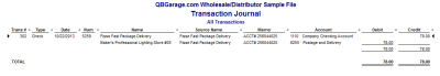 QuickBooks Enterprise Solutions 10 Check Transaction Journal