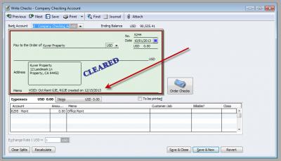 QuickBooks Enterprise Solutions 10 Void Check Memo