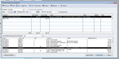 QuickBooks Enterprise Solutions 10 Void Check Reversing Journal Entry 2