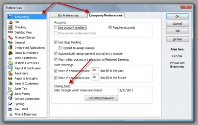 QuickBooks Premier 2009 Preferences Closing Date