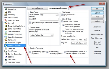 QuickBooks Premier 2009 Undeposited Funds Preference
