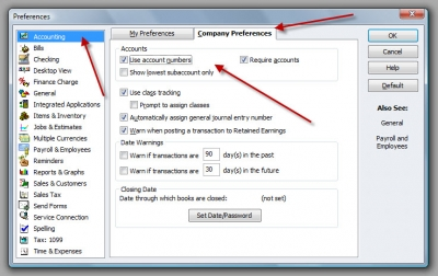 QuickBooks Premier 2009 Preferences Use Account Numbers