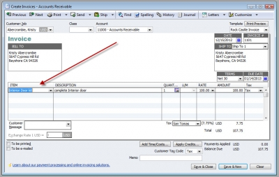 QuickBooks Premier 2009 Create Invoices Inventory Assembly Item