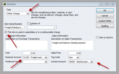 QuickBooks Premier 2009 Edit Item Other Charge Reimbursable