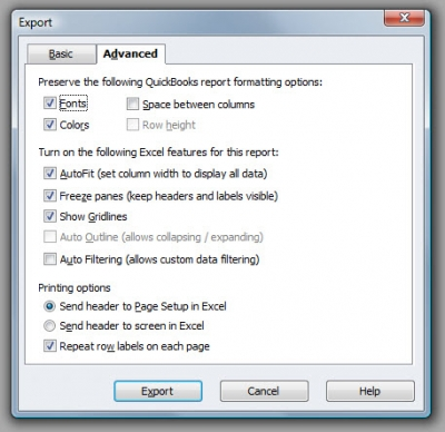 QuickBooks Premier 2009 Export Advanced