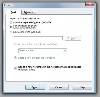 QuickBooks Premier 2009 Export Basic