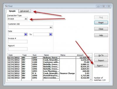 QuickBooks Premier 2009 Export Find Invoice