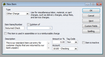 QuickBooks Premier 2009 New Item Returned Check