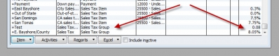 QuickBooks Premier 2009 Sales Tax Group Display Bug