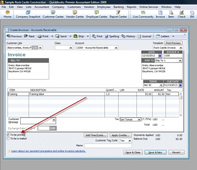 QuickBooks Premier 2009 To Be Printed Checkbox