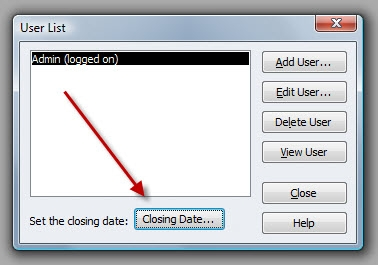 QuickBooks Premier 2009 User List Closing Date