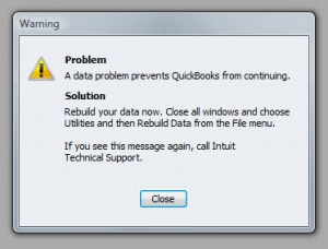 QuickBooks Premier 2009 Verify Utility Warning