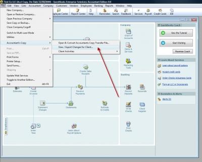 QuickBooks Accountants Copy View Export
