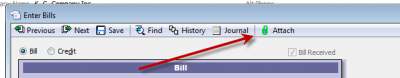 QuickBooks 2011 Vendor Bill With Document Attached