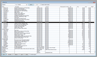 QuickBooks 2011 Item List Inventory Parts