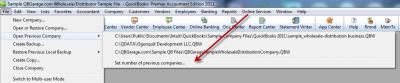 QuickBooks 2011 Set Number of Previous Companies Menu