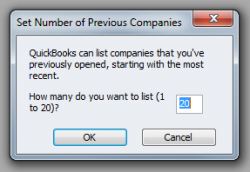 QuickBooks 2011 Set Number of Previous Companies Window