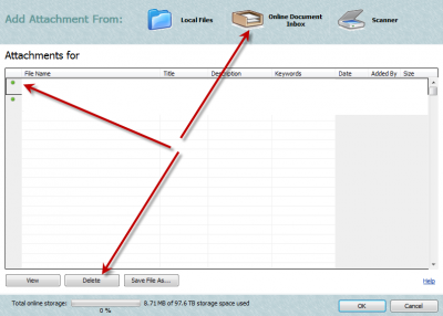 QuickBooks Attached Document Current Attachments