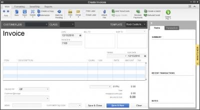 QuickBooks 2013 Invoice