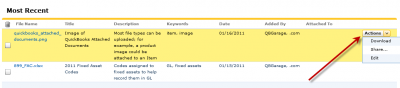 QuickBooks Attached Documents Actions