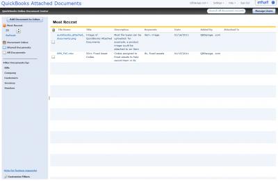 QuickBooks Attached Documents Online Document Center