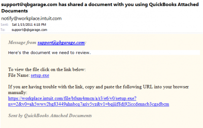 QuickBooks Attached Documents Sharing Email