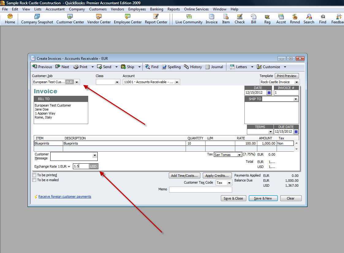 QuickBooks Premier 2009 Create Invoice Multicurrency